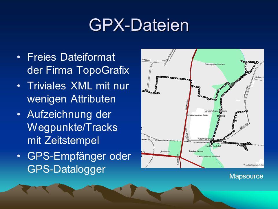 GPX-Dateien Freies Dateiformat der Firma TopoGrafix Triviales XML mit nur wenigen Attributen Aufzeichnung der Wegpunkte/Tracks mit Zeitstempel GPS-Emp