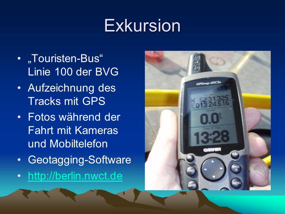 Exkursion Touristen-Bus Linie 100 der BVG Aufzeichnung des Tracks mit GPS Fotos während der Fahrt mit Kameras und Mobiltelefon Geotagging-Software htt