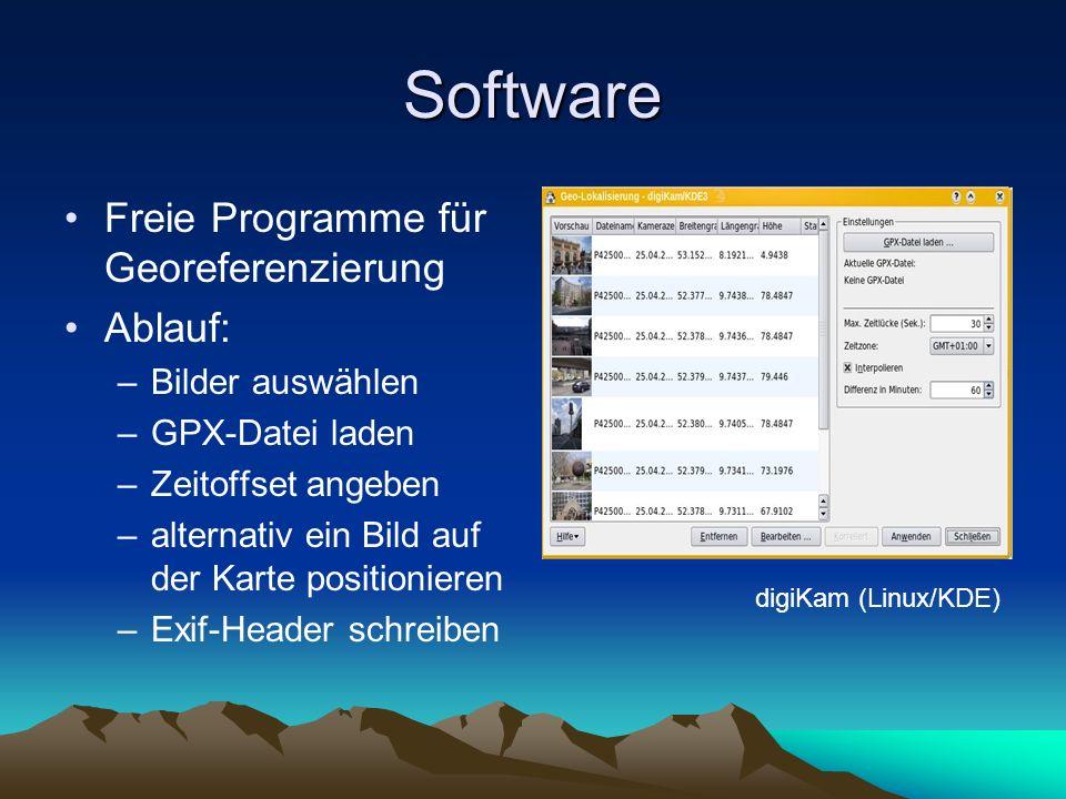 Software Freie Programme für Georeferenzierung Ablauf: –Bilder auswählen –GPX-Datei laden –Zeitoffset angeben –alternativ ein Bild auf der Karte posit