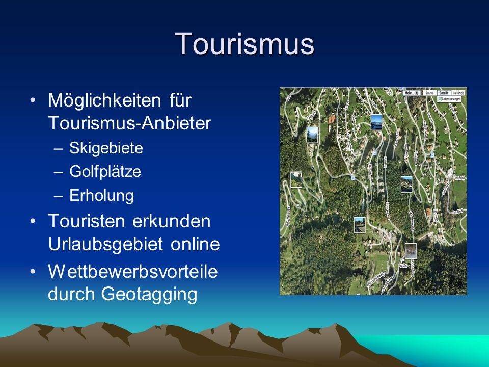 Tourismus Möglichkeiten für Tourismus-Anbieter –Skigebiete –Golfplätze –Erholung Touristen erkunden Urlaubsgebiet online Wettbewerbsvorteile durch Geo