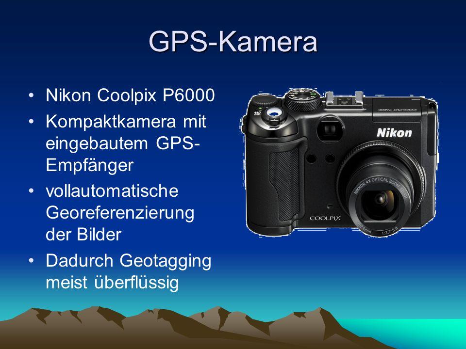 GPS-Kamera Nikon Coolpix P6000 Kompaktkamera mit eingebautem GPS- Empfänger vollautomatische Georeferenzierung der Bilder Dadurch Geotagging meist übe
