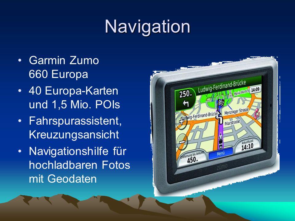 Navigation Garmin Zumo 660 Europa 40 Europa-Karten und 1,5 Mio. POIs Fahrspurassistent, Kreuzungsansicht Navigationshilfe für hochladbaren Fotos mit G