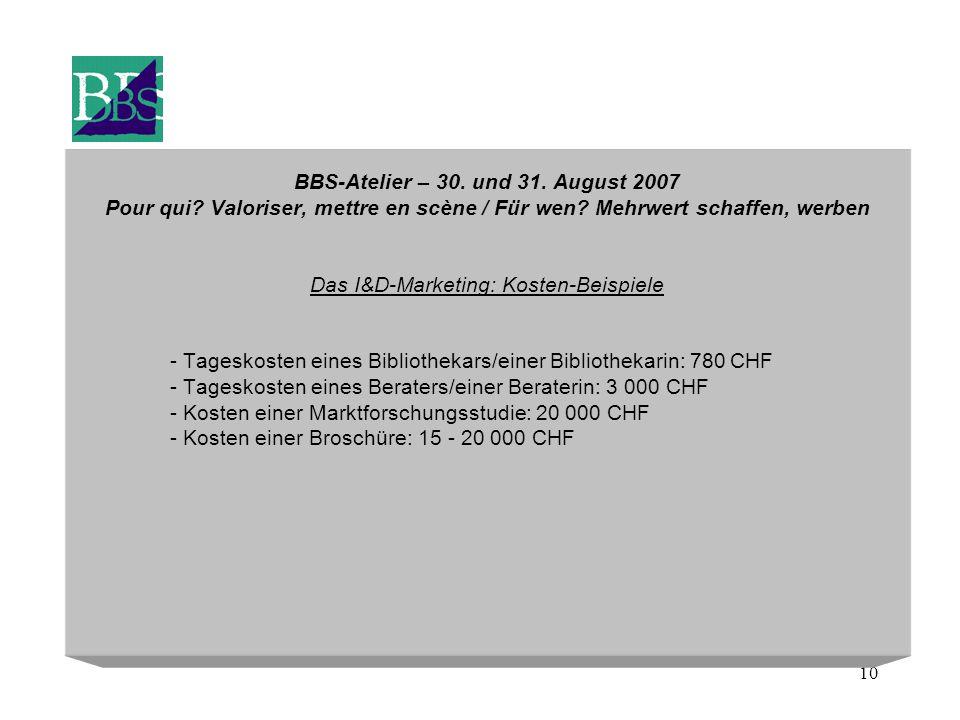 10 BBS-Atelier – 30. und 31. August 2007 Pour qui? Valoriser, mettre en scène / Für wen? Mehrwert schaffen, werben Das I&D-Marketing: Kosten-Beispiele