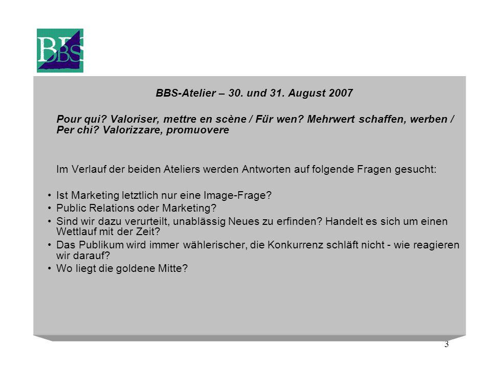 3 BBS-Atelier – 30. und 31. August 2007 Pour qui? Valoriser, mettre en scène / Für wen? Mehrwert schaffen, werben / Per chi? Valorizzare, promuovere I
