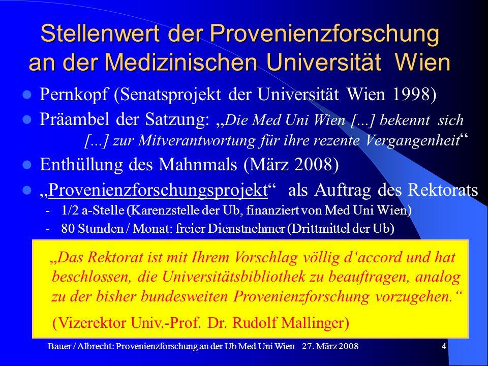 Bauer / Albrecht: Provenienzforschung an der Ub Med Uni Wien 27. März 20084 Stellenwert der Provenienzforschung an der Medizinischen Universität Wien