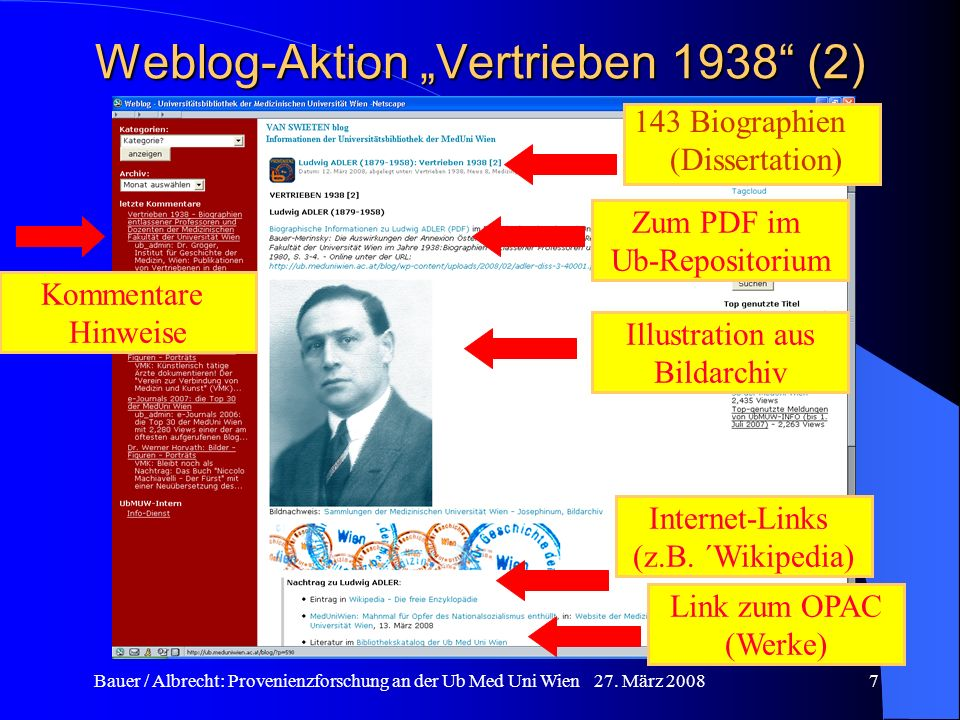 Bauer / Albrecht: Provenienzforschung an der Ub Med Uni Wien 27. März 20087 Weblog-Aktion Vertrieben 1938 (2) 143 Biographien (Dissertation) Zum PDF i