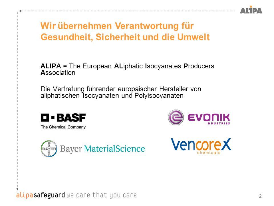 2 Wir übernehmen Verantwortung für Gesundheit, Sicherheit und die Umwelt ALIPA = The European ALiphatic Isocyanates Producers Association Die Vertretu