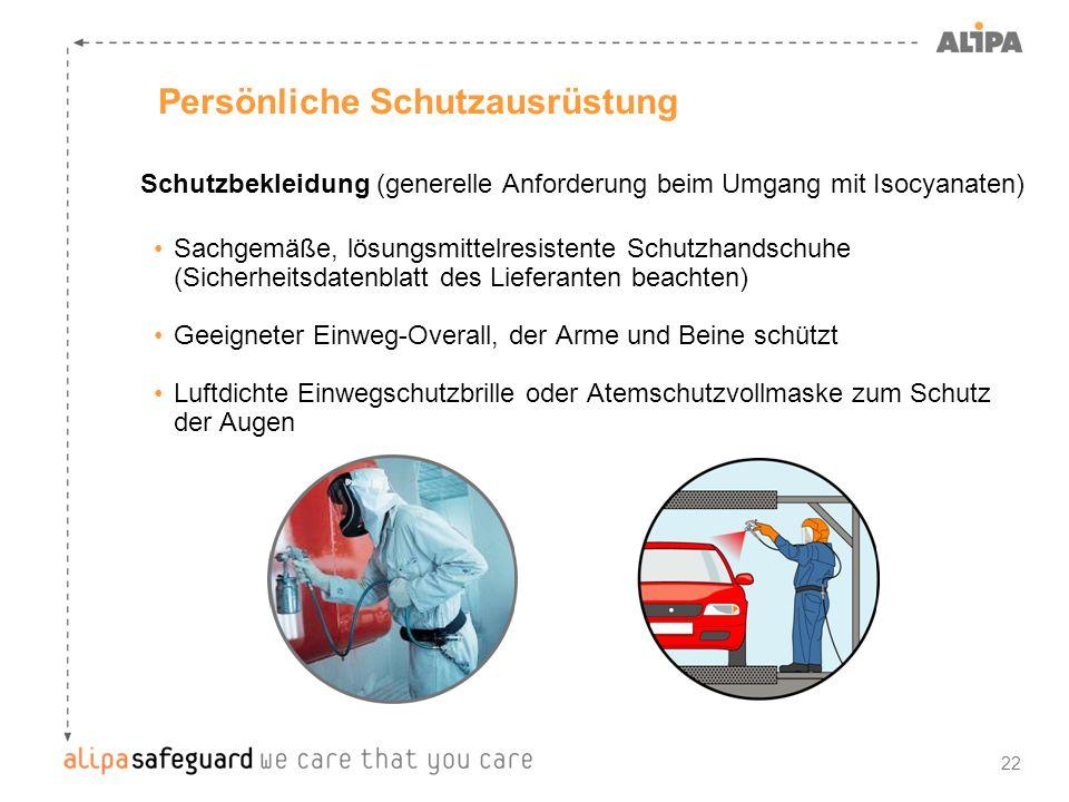 22 Persönliche Schutzausrüstung Schutzbekleidung (generelle Anforderung beim Umgang mit Isocyanaten) Sachgemäße, lösungsmittelresistente Schutzhandsch
