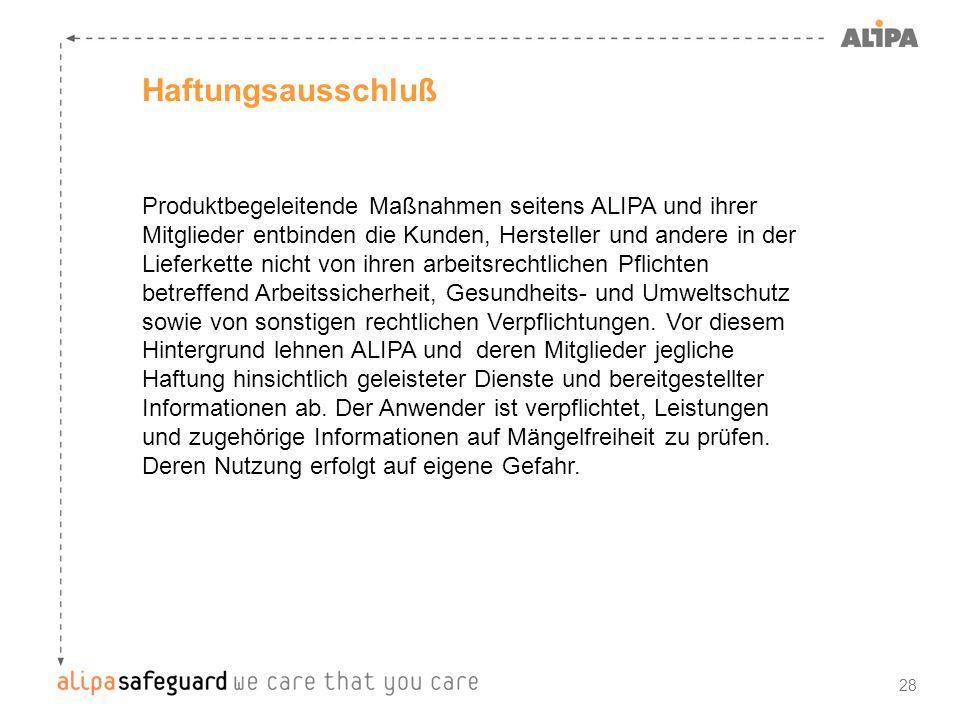 28 Haftungsausschluß Produktbegeleitende Maßnahmen seitens ALIPA und ihrer Mitglieder entbinden die Kunden, Hersteller und andere in der Lieferkette n