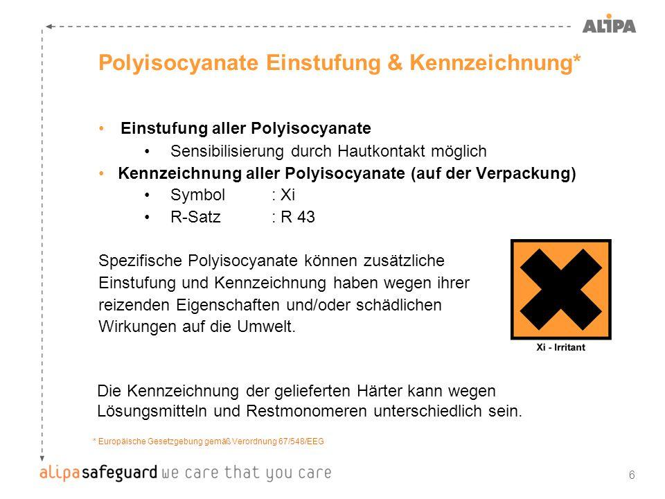 6 Polyisocyanate Einstufung & Kennzeichnung* Einstufung aller Polyisocyanate Sensibilisierung durch Hautkontakt möglich Kennzeichnung aller Polyisocya