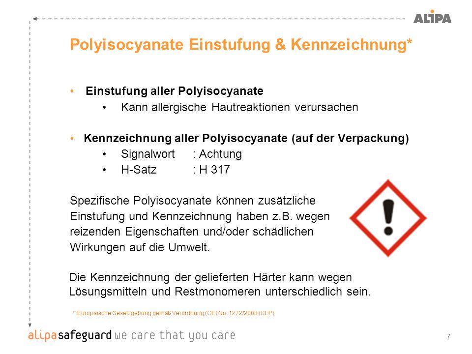 7 Polyisocyanate Einstufung & Kennzeichnung* Einstufung aller Polyisocyanate Kann allergische Hautreaktionen verursachen Kennzeichnung aller Polyisocy