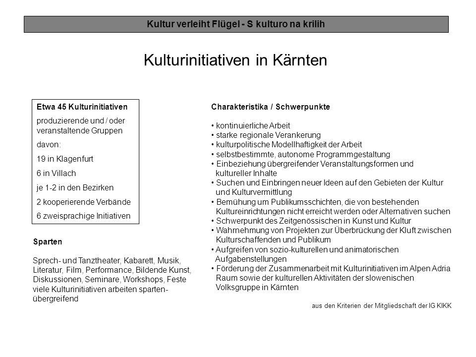 Kulturinitiativen in Kärnten Etwa 45 Kulturinitiativen produzierende und / oder veranstaltende Gruppen davon: 19 in Klagenfurt 6 in Villach je 1-2 in