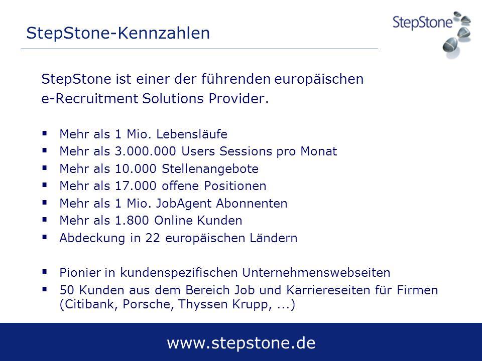 www.stepstone.de StepStone-Kennzahlen StepStone ist einer der führenden europäischen e-Recruitment Solutions Provider. Mehr als 1 Mio. Lebensläufe Meh