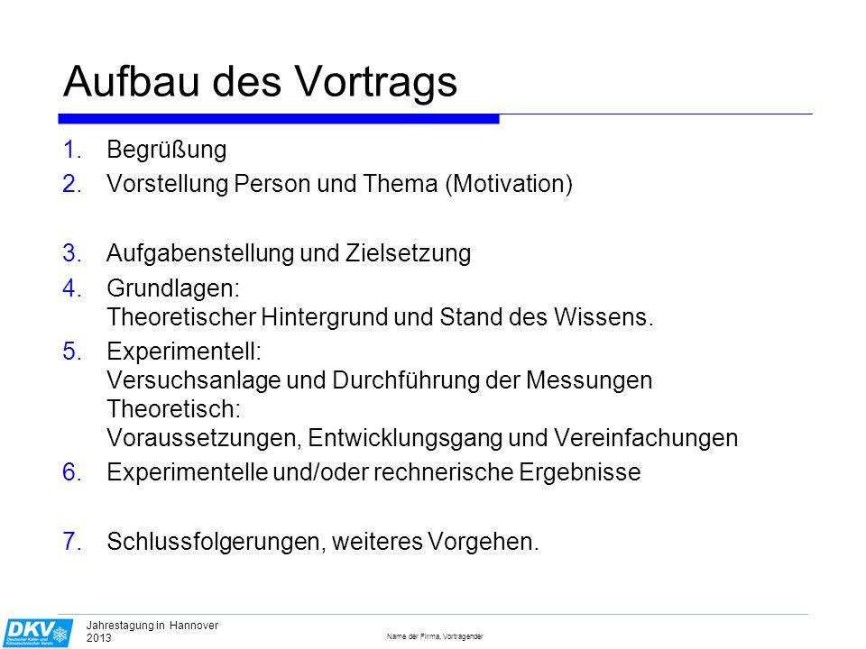 Name der Firma, Vortragender Jahrestagung in Hannover 2013 Angemessen animiert .