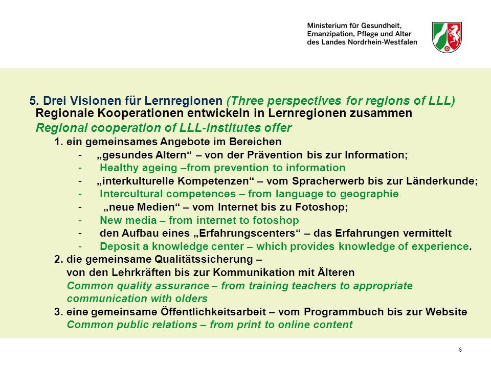 6 Regionale Kooperationen entwickeln in Lernregionen zusammen Regional cooperation of LLL-institutes offer 1. ein gemeinsames Angebote im Bereichen -g