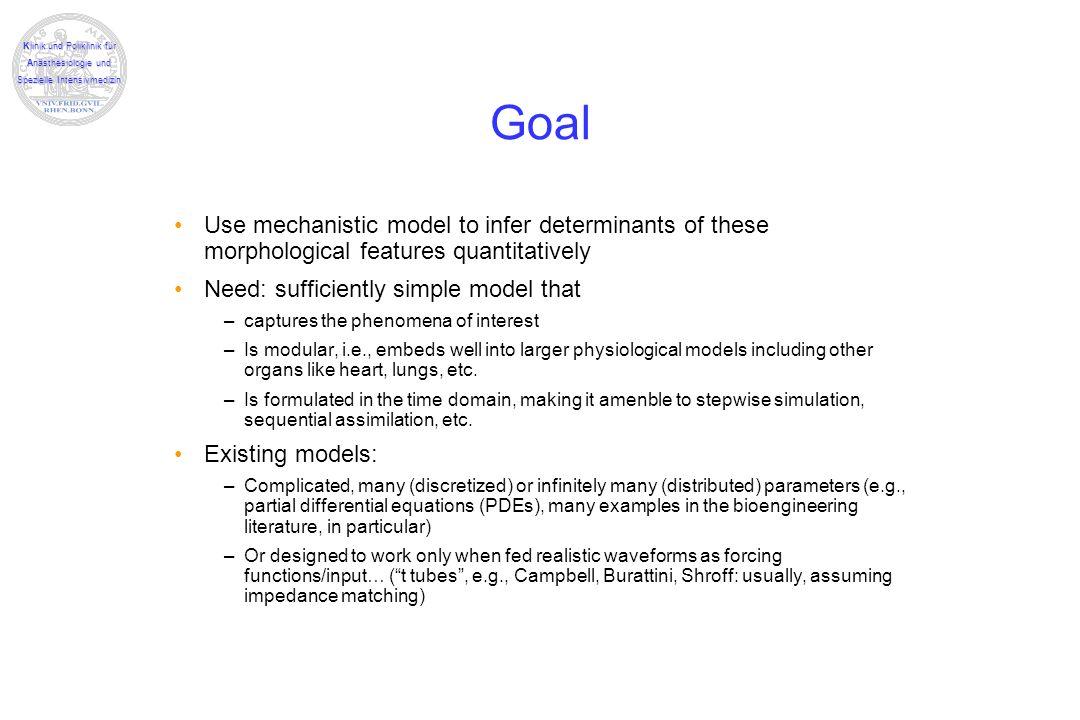 Klinik und Poliklinik für Anästhesiologie und Spezielle Intensivmedizin Goal Use mechanistic model to infer determinants of these morphological featur