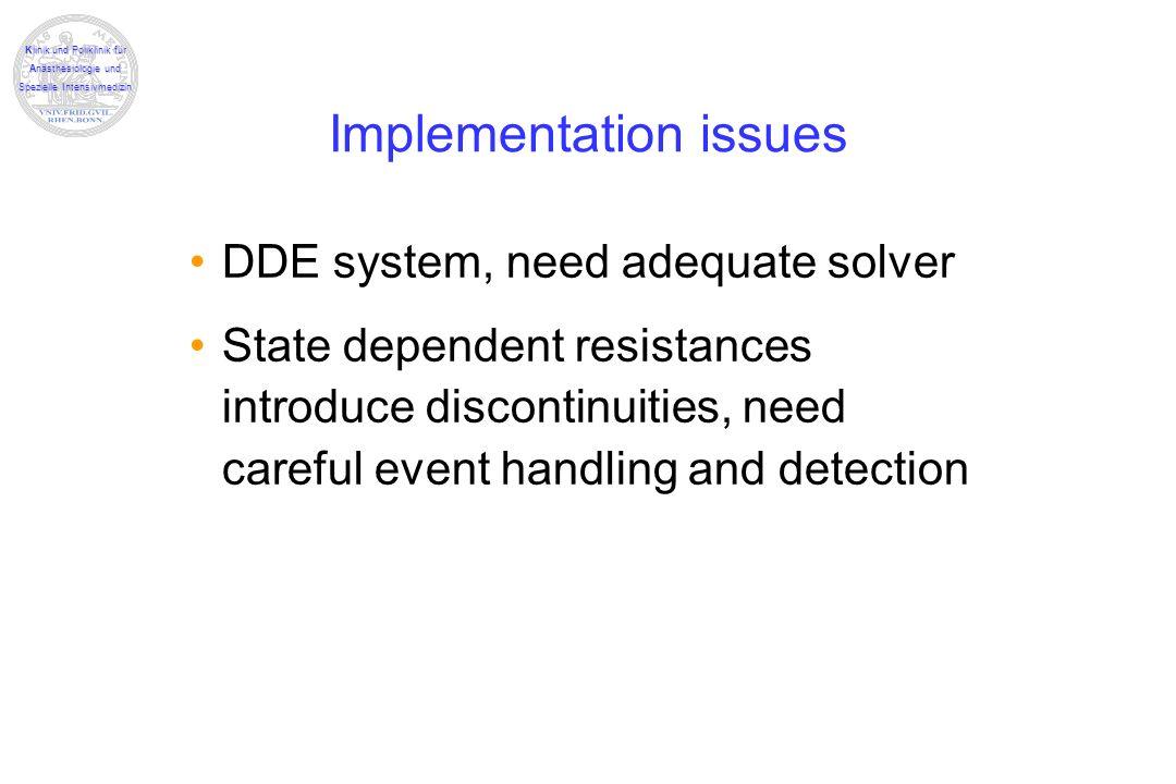 Klinik und Poliklinik für Anästhesiologie und Spezielle Intensivmedizin Implementation issues DDE system, need adequate solver State dependent resista