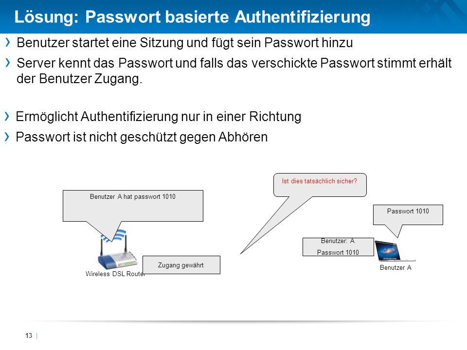 Lösung: Passwort basierte Authentifizierung 13 | Benutzer startet eine Sitzung und fügt sein Passwort hinzu Server kennt das Passwort und falls das ve
