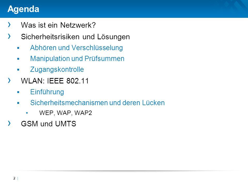 Agenda Was ist ein Netzwerk? Sicherheitsrisiken und Lösungen Abhören und Verschlüsselung Manipulation und Prüfsummen Zugangskontrolle WLAN: IEEE 802.1