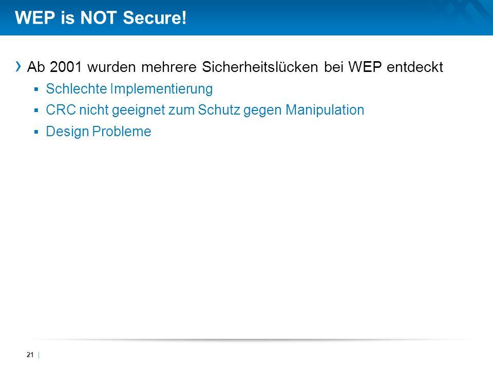 WEP is NOT Secure! Ab 2001 wurden mehrere Sicherheitslücken bei WEP entdeckt Schlechte Implementierung CRC nicht geeignet zum Schutz gegen Manipulatio