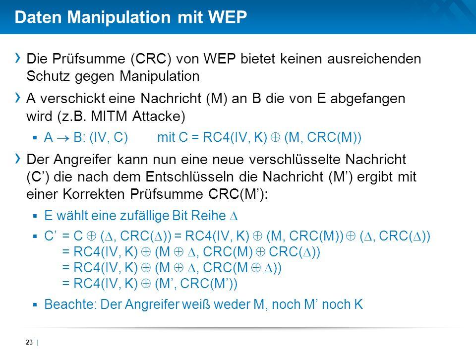Daten Manipulation mit WEP Die Prüfsumme (CRC) von WEP bietet keinen ausreichenden Schutz gegen Manipulation A verschickt eine Nachricht (M) an B die