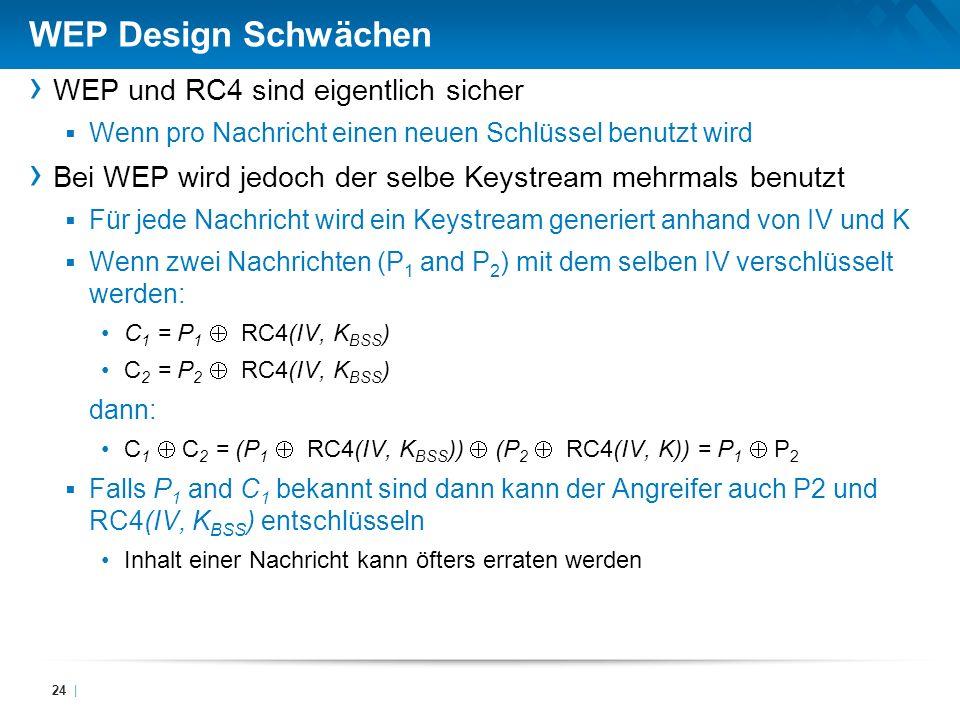 WEP Design Schwächen WEP und RC4 sind eigentlich sicher Wenn pro Nachricht einen neuen Schlüssel benutzt wird Bei WEP wird jedoch der selbe Keystream