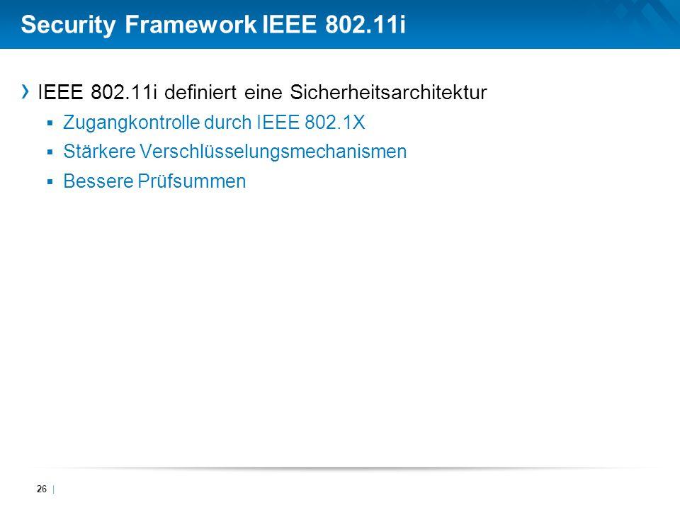 Security Framework IEEE 802.11i IEEE 802.11i definiert eine Sicherheitsarchitektur Zugangkontrolle durch IEEE 802.1X Stärkere Verschlüsselungsmechanis