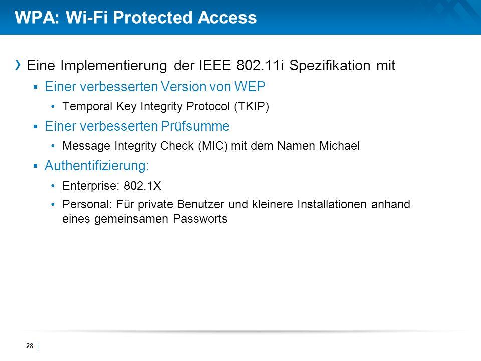 WPA: Wi-Fi Protected Access Eine Implementierung der IEEE 802.11i Spezifikation mit Einer verbesserten Version von WEP Temporal Key Integrity Protocol