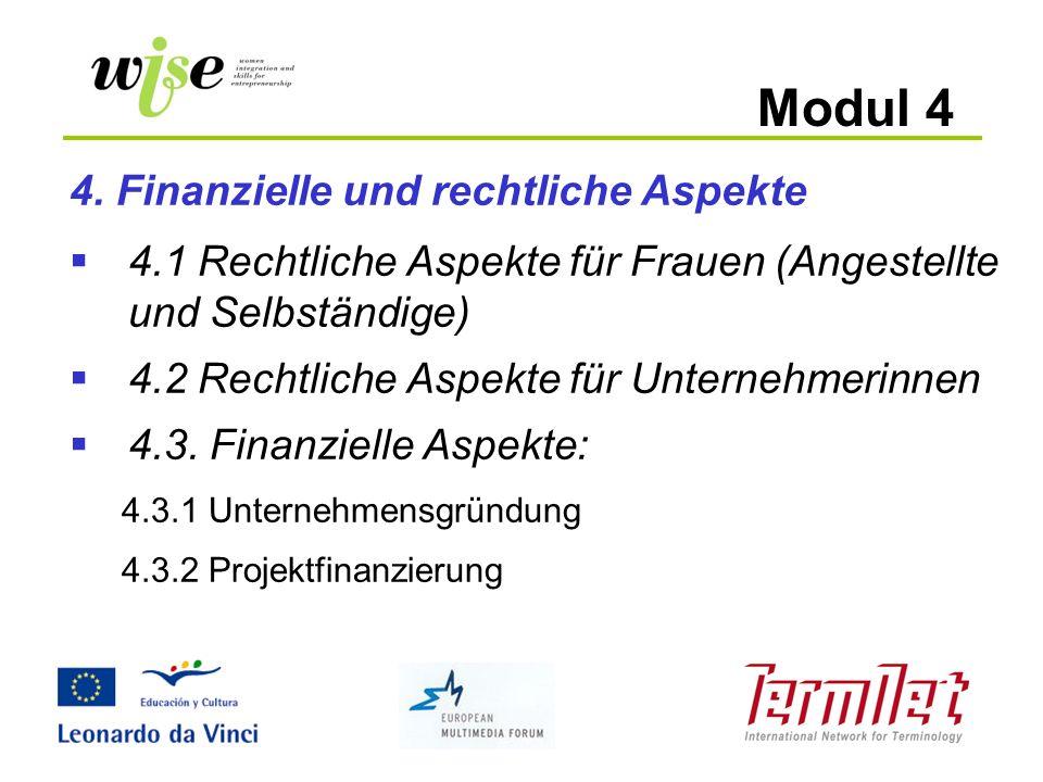 Modul 4 4. Finanzielle und rechtliche Aspekte 4.1 Rechtliche Aspekte für Frauen (Angestellte und Selbständige) 4.2 Rechtliche Aspekte für Unternehmeri