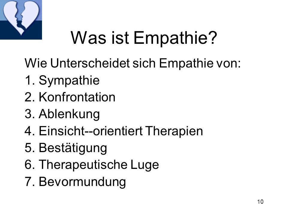 10 Was ist Empathie? Wie Unterscheidet sich Empathie von: 1. Sympathie 2. Konfrontation 3. Ablenkung 4. Einsicht--orientiert Therapien 5. Bestätigung