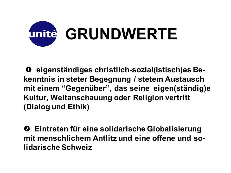 GRUNDWERTE eigenständiges christlich-sozial(istisch)es Be- kenntnis in steter Begegnung / stetem Austausch mit einem Gegenüber, das seine eigen(ständig)e Kultur, Weltanschauung oder Religion vertritt (Dialog und Ethik) Eintreten für eine solidarische Globalisierung mit menschlichem Antlitz und eine offene und so- lidarische Schweiz