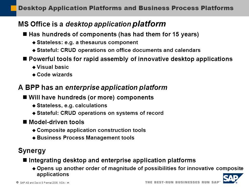 SAP AG and David S Frankel 2005, MDA / 5 Desktop Application Platforms and Business Process Platforms MS Office is a desktop application platform Has