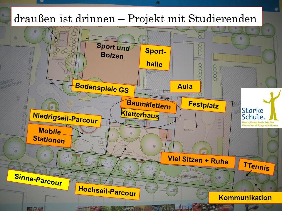 17 Sinne-Parcour Sport und Bolzen Kletterhaus Hochseil-Parcour Sport- halle TTennis Niedrigseil-Parcour Kommunikation Bodenspiele GS Baumklettern Mobi
