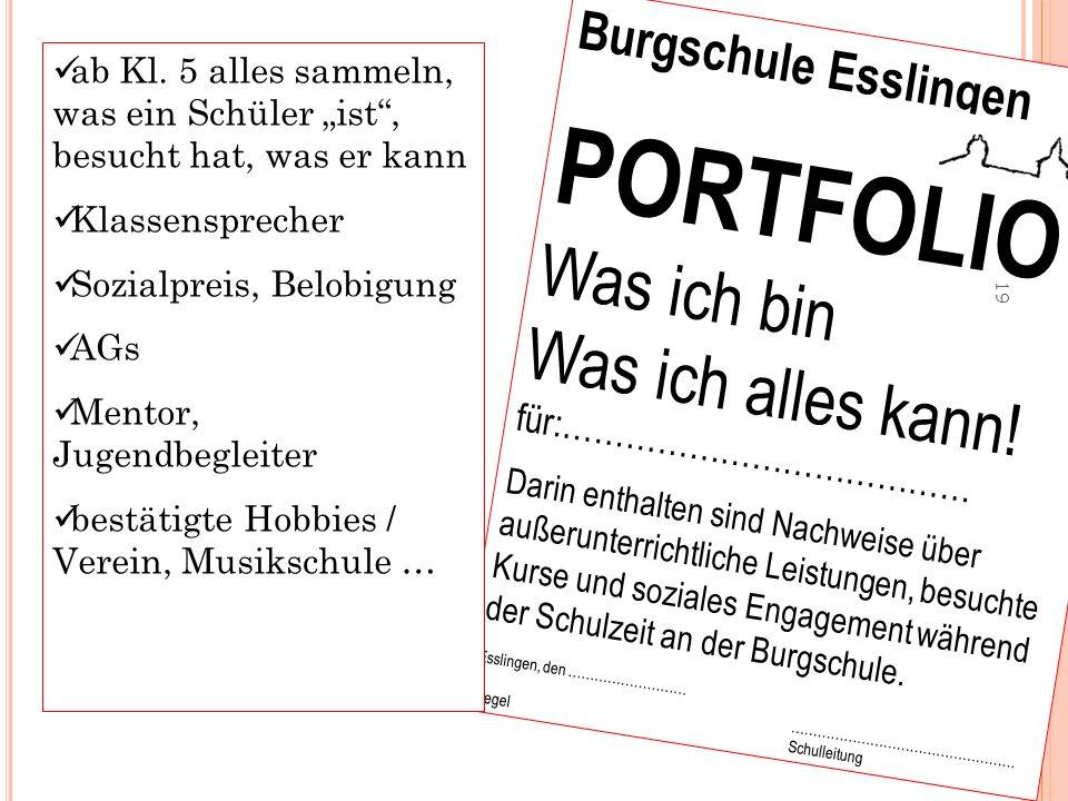 Burgschule Esslingen PORTFOLIO Was ich bin Was ich alles kann! für:………………………………… Darin enthalten sind Nachweise über außerunterrichtliche Leistungen,