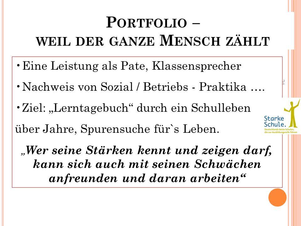 21 P ORTFOLIO – WEIL DER GANZE M ENSCH ZÄHLT Eine Leistung als Pate, Klassensprecher Nachweis von Sozial / Betriebs - Praktika …. Ziel: Lerntagebuch d