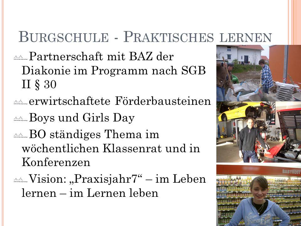 B URGSCHULE - P RAKTISCHES LERNEN Partnerschaft mit BAZ der Diakonie im Programm nach SGB II § 30 erwirtschaftete Förderbausteinen Boys und Girls Day