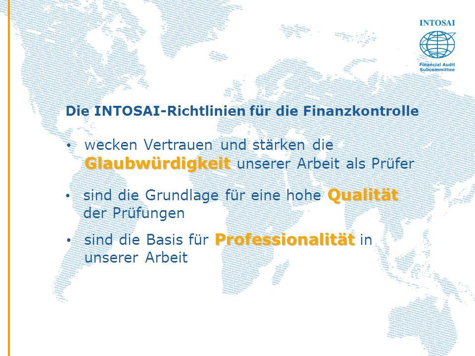 Die INTOSAI-Richtlinien für die Finanzkontrolle Qualität sind die Grundlage für eine hohe Qualität der Prüfungen Glaubwürdigkeit wecken Vertrauen und