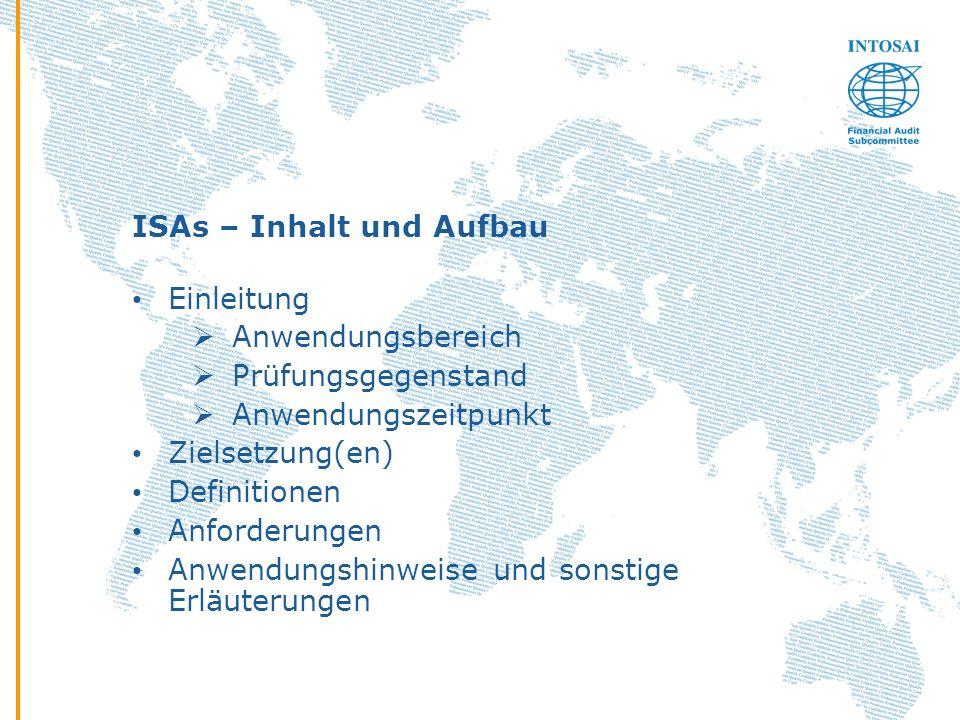 ISAs – Inhalt und Aufbau Einleitung Anwendungsbereich Prüfungsgegenstand Anwendungszeitpunkt Zielsetzung(en) Definitionen Anforderungen Anwendungshinw