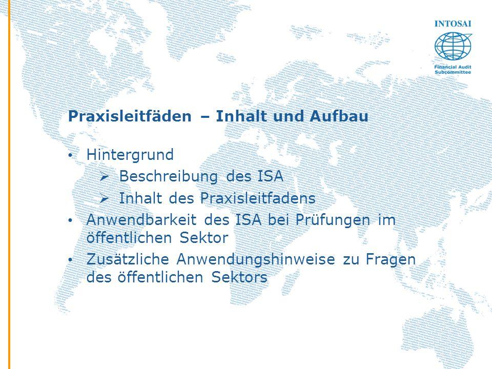Praxisleitfäden – Inhalt und Aufbau Hintergrund Beschreibung des ISA Inhalt des Praxisleitfadens Anwendbarkeit des ISA bei Prüfungen im öffentlichen S