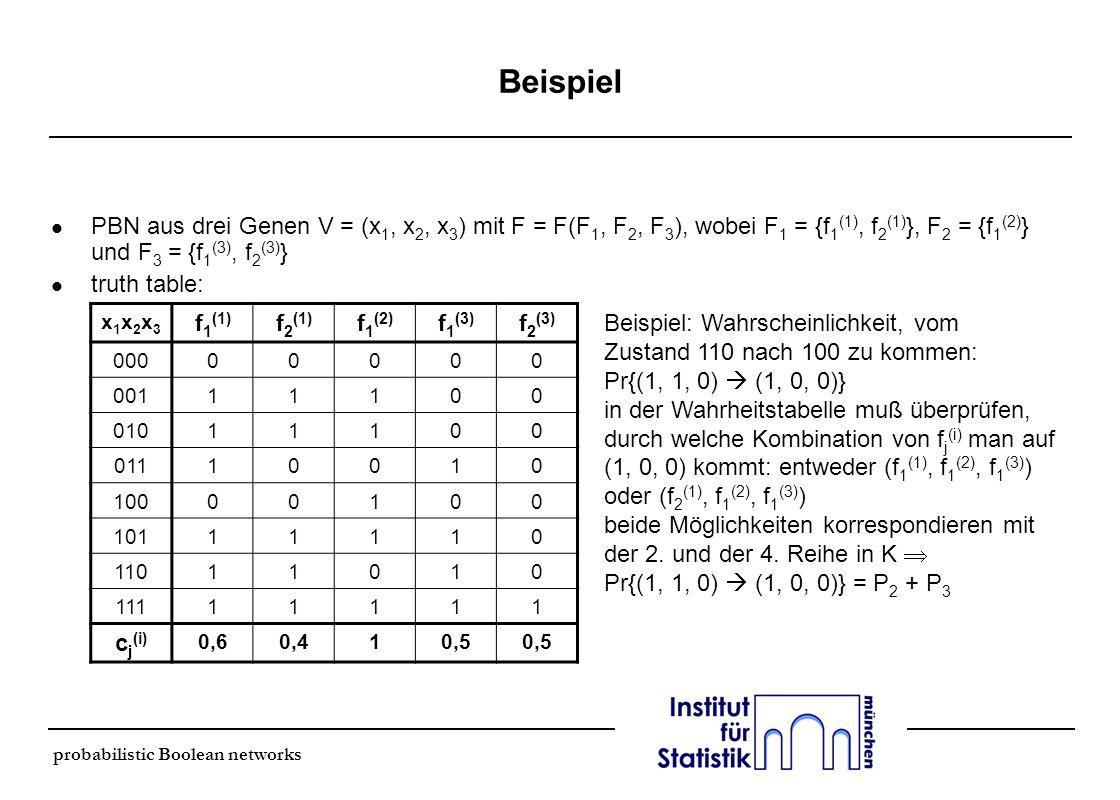 probabilistic Boolean networks Beispiel l PBN aus drei Genen V = (x 1, x 2, x 3 ) mit F = F(F 1, F 2, F 3 ), wobei F 1 = {f 1 (1), f 2 (1) }, F 2 = {f