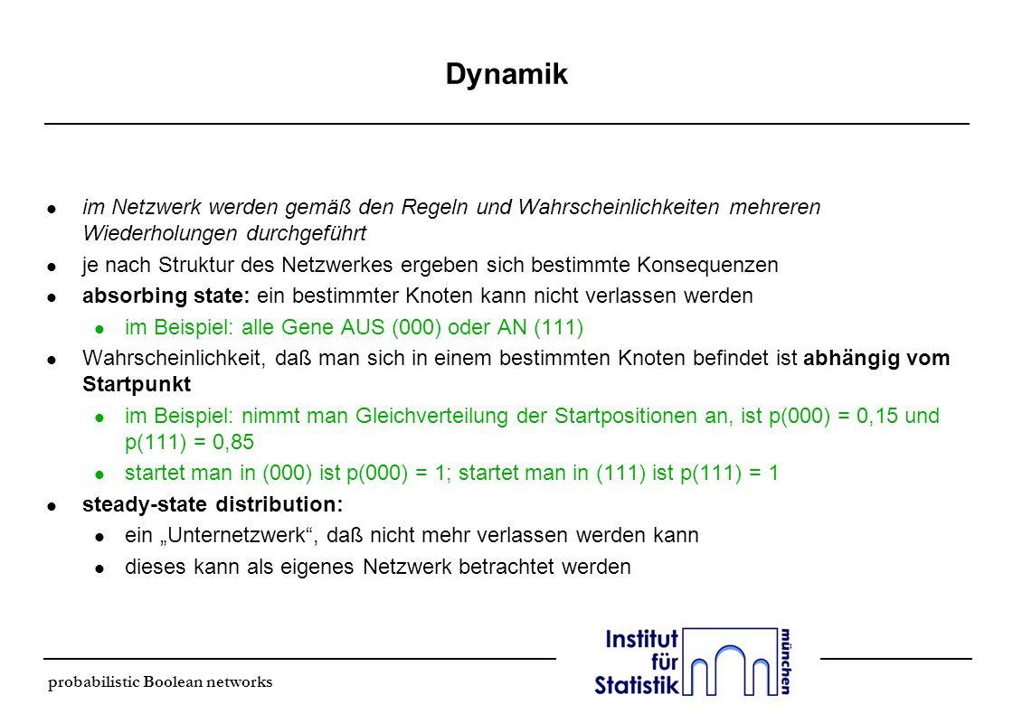 probabilistic Boolean networks Dynamik l im Netzwerk werden gemäß den Regeln und Wahrscheinlichkeiten mehreren Wiederholungen durchgeführt l je nach S