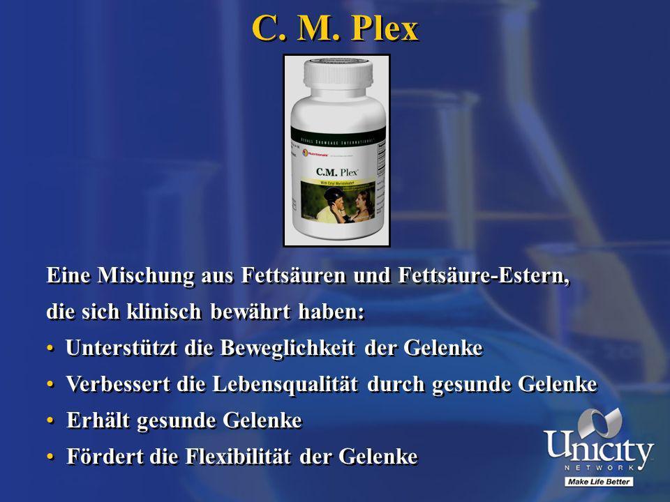 C. M. Plex Eine Mischung aus Fettsäuren und Fettsäure-Estern, die sich klinisch bewährt haben: Unterstützt die Beweglichkeit der Gelenke Verbessert di