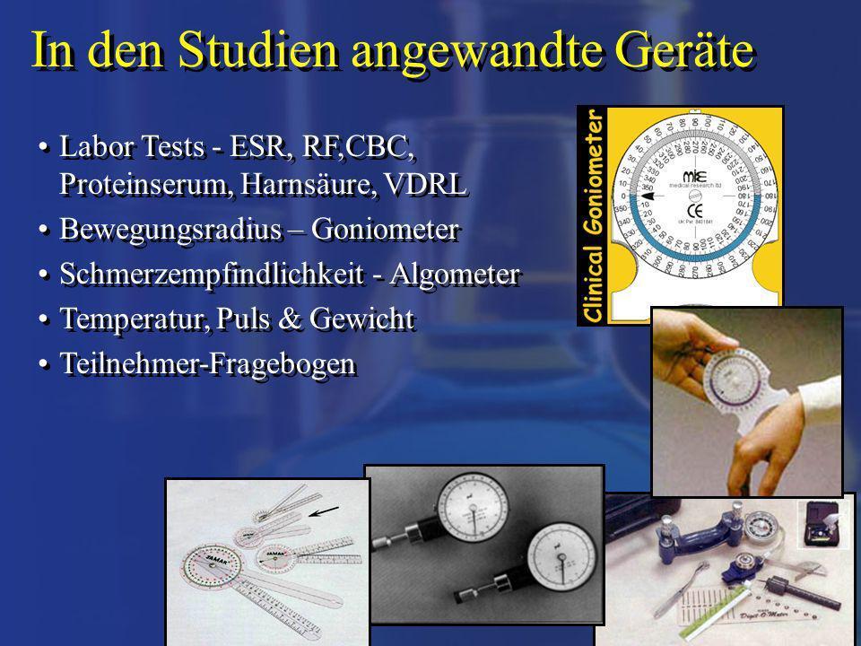 In den Studien angewandte Geräte Labor Tests - ESR, RF,CBC, Proteinserum, Harnsäure, VDRL Bewegungsradius – Goniometer Schmerzempfindlichkeit - Algome