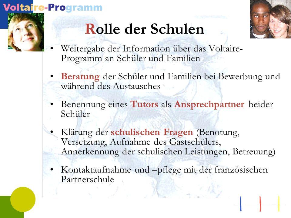 Voltaire-Programm Rolle der Schulen Weitergabe der Information über das Voltaire- Programm an Schüler und Familien Beratung der Schüler und Familien b