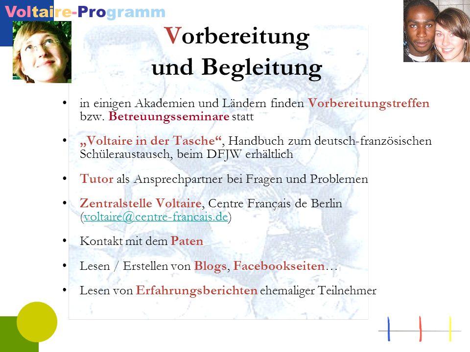 Voltaire-Programm Vorbereitung und Begleitung in einigen Akademien und Ländern finden Vorbereitungstreffen bzw. Betreuungsseminare statt Voltaire in d