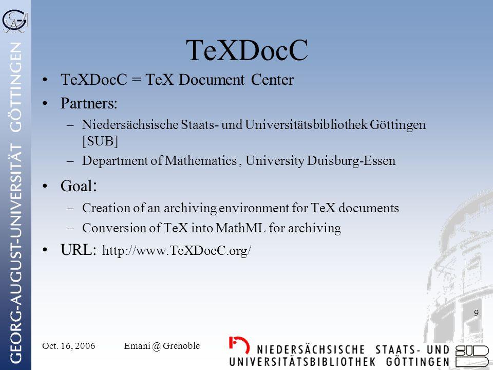 Oct.16, 2006Emani @ Grenoble 10 DigReg DigReg = Digitization Registry Partners .