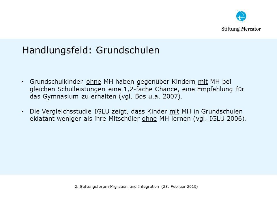 2. Stiftungsforum Migration und Integration (25. Februar 2010) Handlungsfeld: Grundschulen Grundschulkinder ohne MH haben gegenüber Kindern mit MH bei