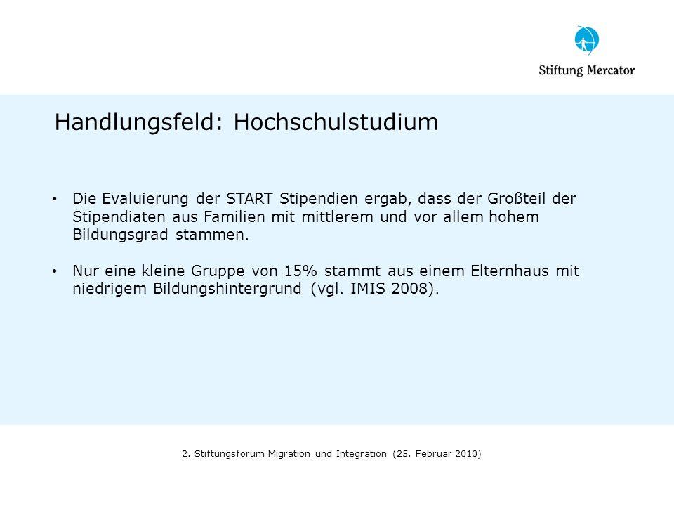 2. Stiftungsforum Migration und Integration (25. Februar 2010) Handlungsfeld: Hochschulstudium Die Evaluierung der START Stipendien ergab, dass der Gr