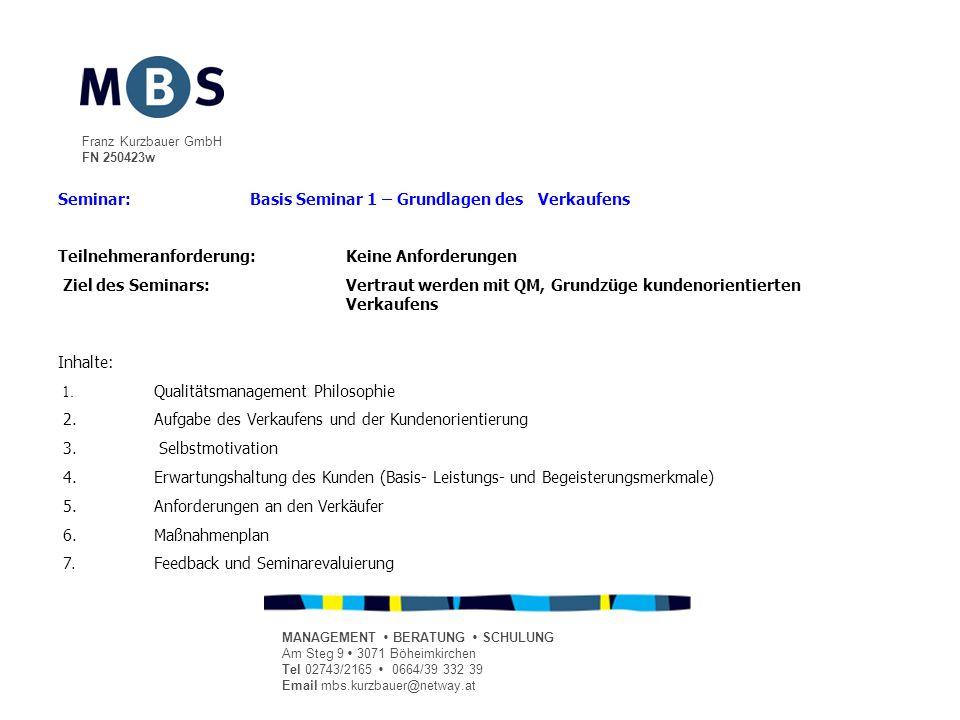 Franz Kurzbauer GmbH FN 250423w MANAGEMENT BERATUNG SCHULUNG Am Steg 9 3071 Böheimkirchen Tel 02743/2165 0664/39 332 39 Email mbs.kurzbauer@netway.at