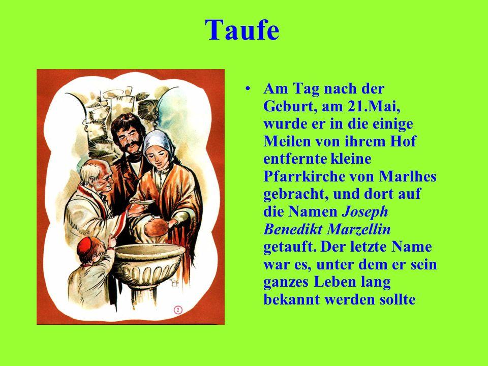 Taufe Am Tag nach der Geburt, am 21.Mai, wurde er in die einige Meilen von ihrem Hof entfernte kleine Pfarrkirche von Marlhes gebracht, und dort auf d